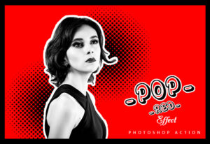 Pop Red Effect Photoshop Action Bundle