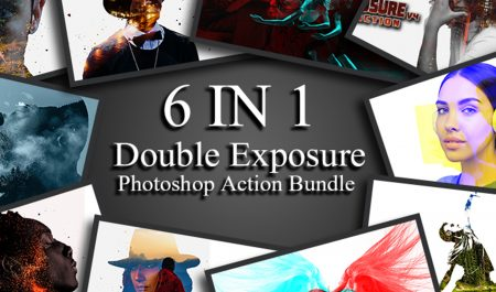 6 in 1 Double Exposure Photoshop Action Bundle